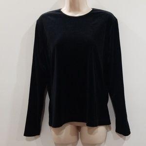 Laura Scott black soft velour long sleeved blouse